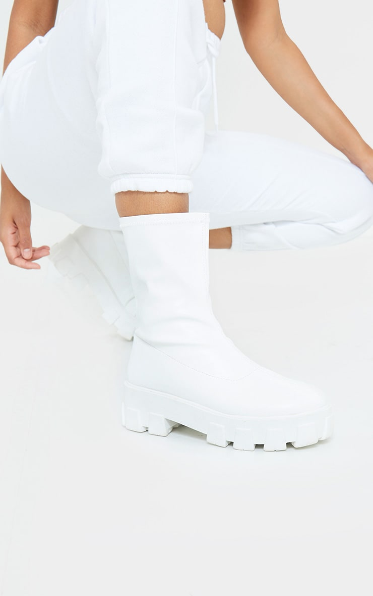 White PU Extreme Chunky Cleat Sole Sock Boot 1