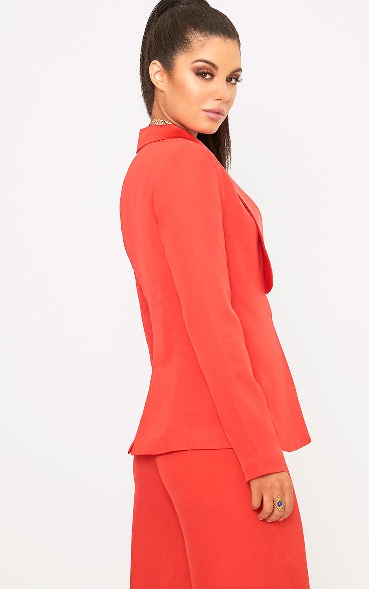 Red Satin Lapel Suit Jacket 2