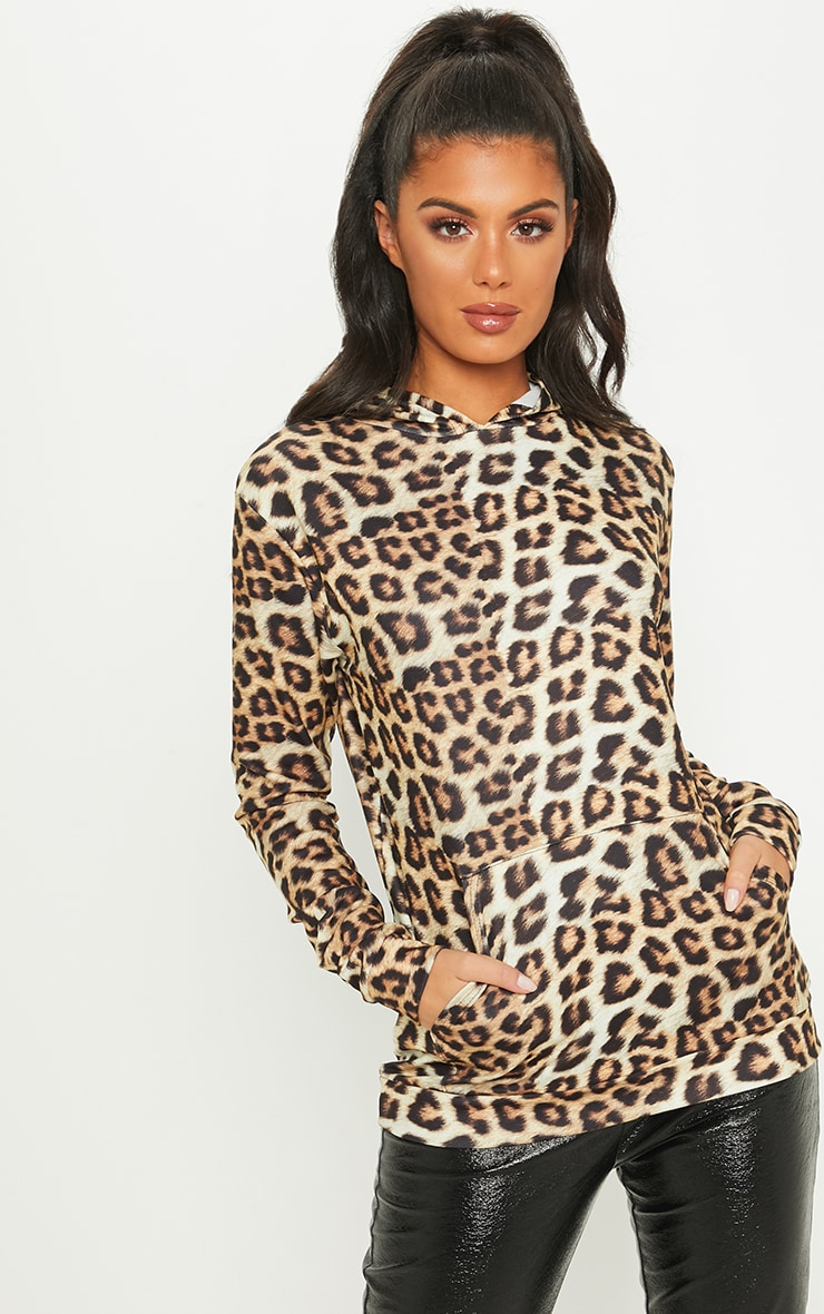 Cream Leopard Print Pocket Hoodie