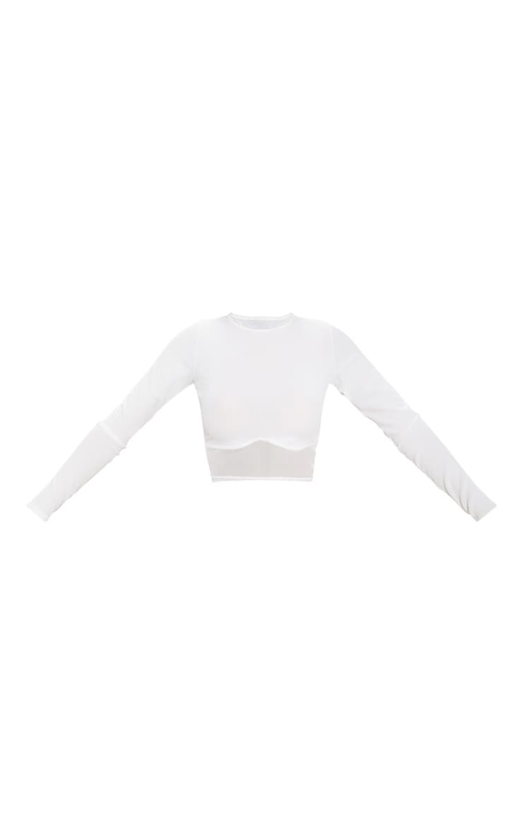 Cream Long Sleeve Mesh Trim Rib Crop Top 3