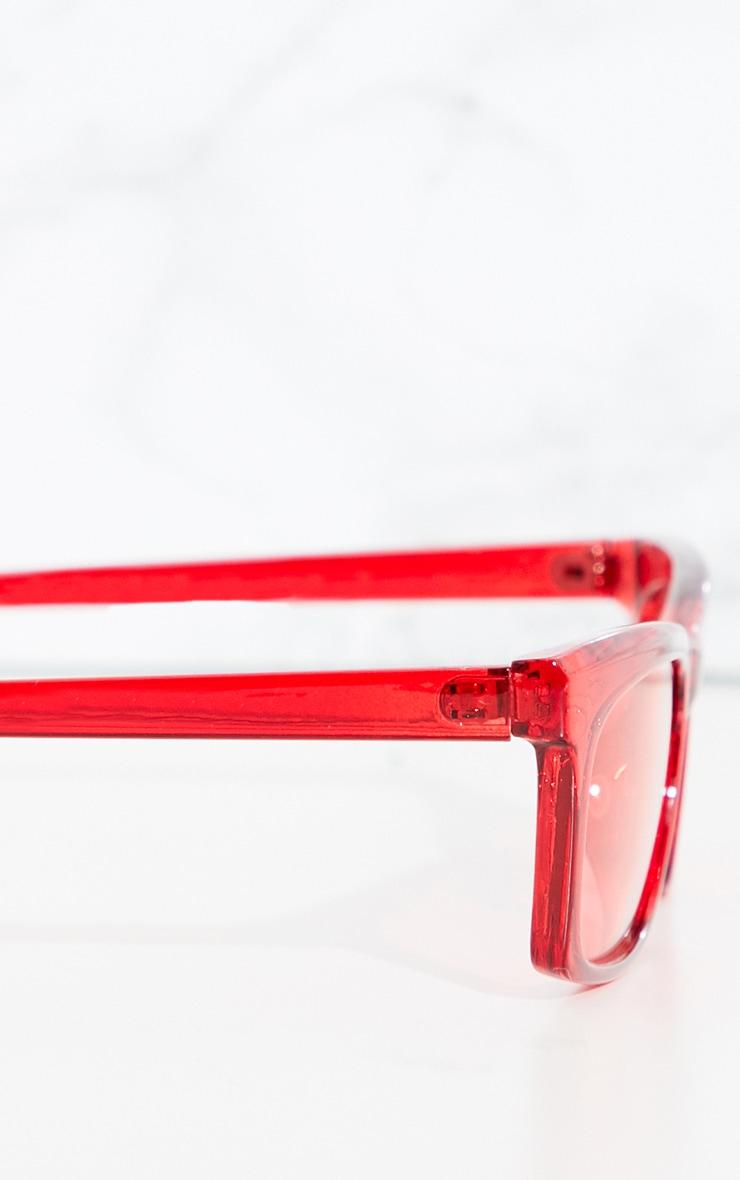 Red Slim Rectangle Sunglasses 3