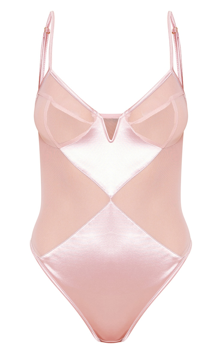 Pink V Wire Satin And Mesh Body 3
