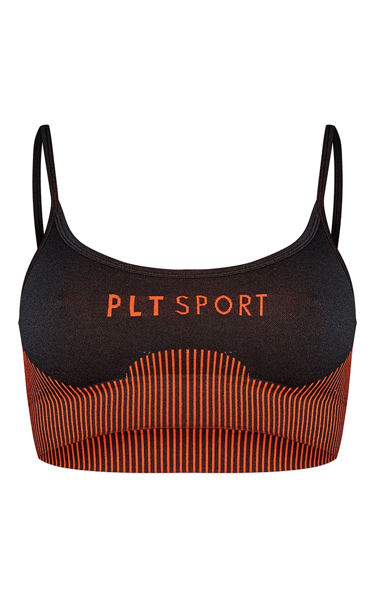 PRETTYLITTLETHING Rust Sport Ribbed Hem Seamless Sports Bra 5