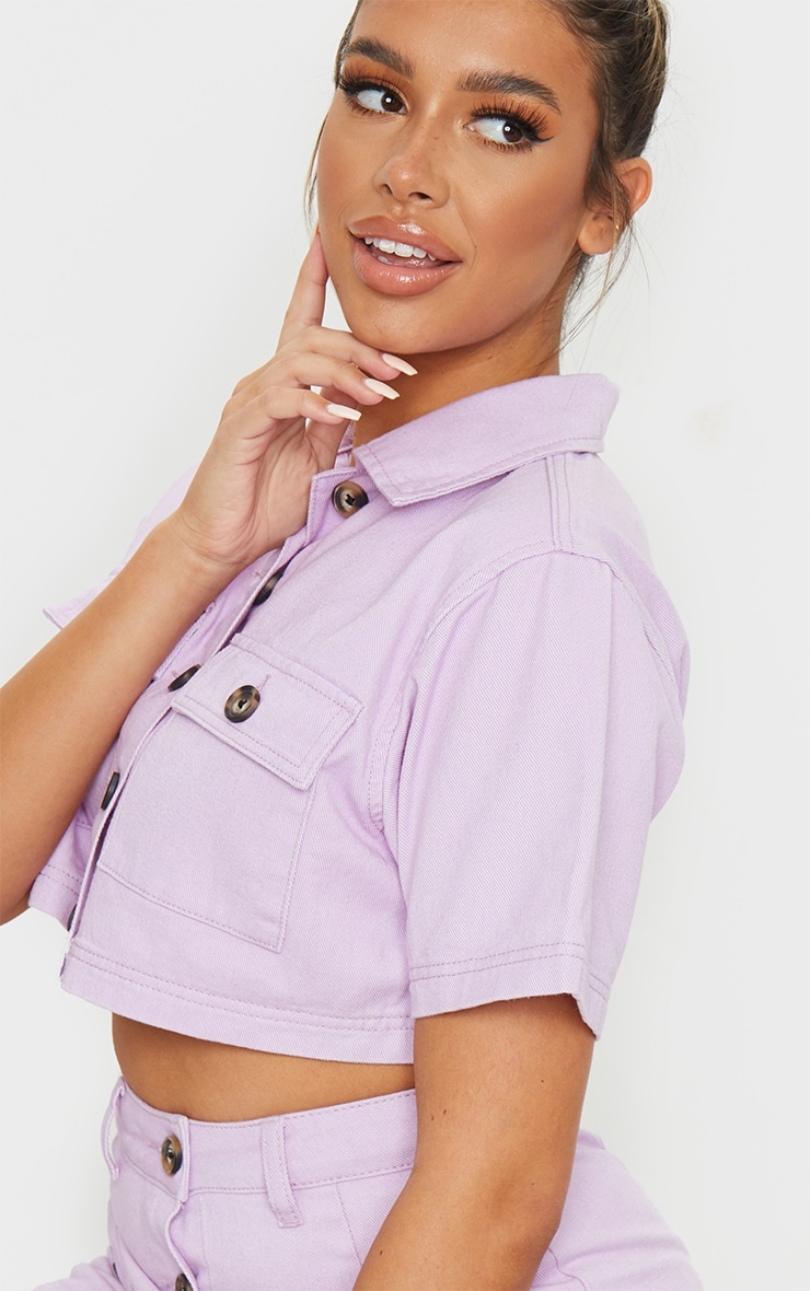 Lilac Button Up Pocket Detail Denim Short Sleeve Shirt 4