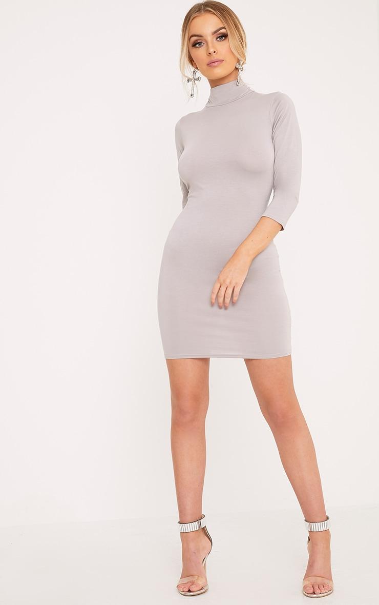 Basic Dove Grey High Neck Jersey Mini Dress 1