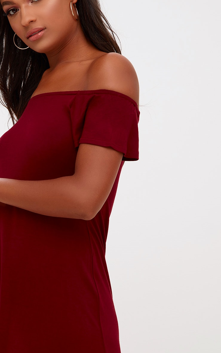 Manina Burgundy Jersey Bardot Shift Dress 4