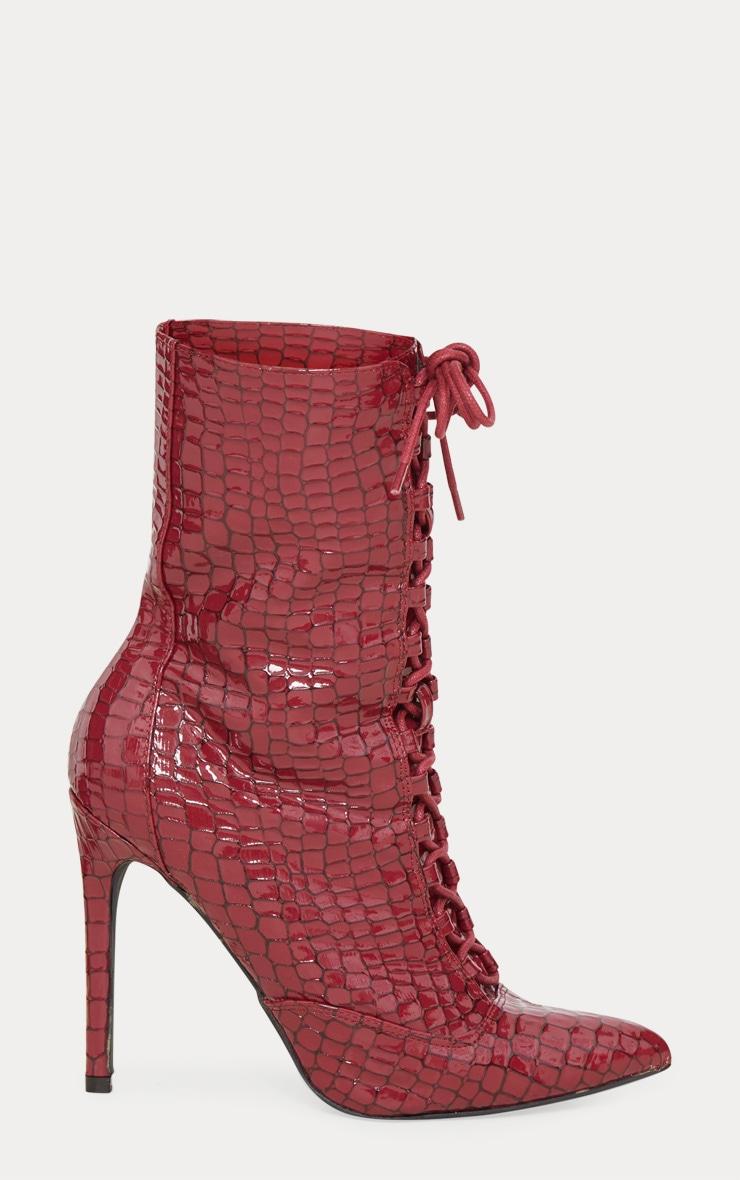 Burgundy Patent Croc Lace Up Boots 4