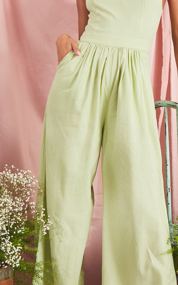 Sage Green Racer Neck Linen Look Wide Leg Jumpsuit 4