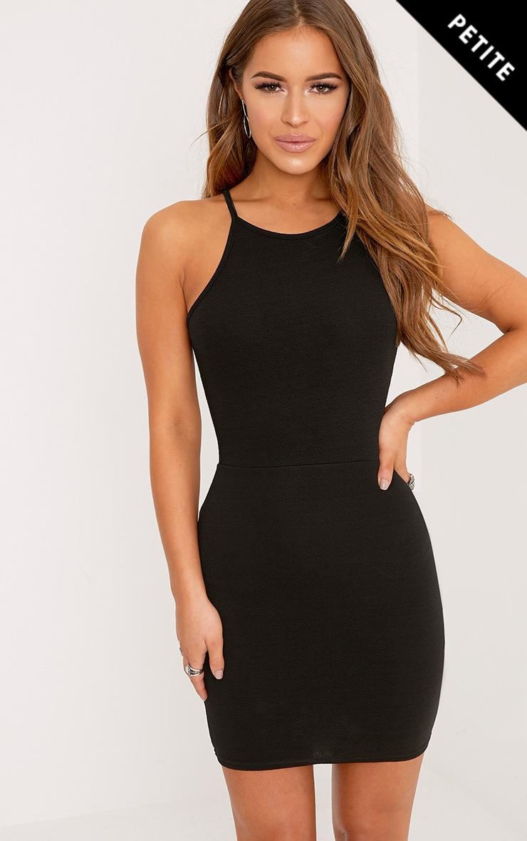 Petite Black High Neck Bodycon Mini Dress  1