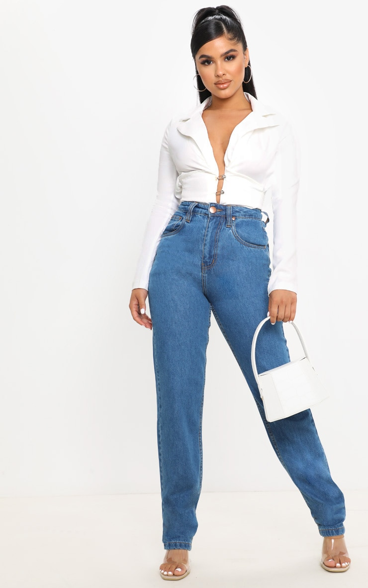 Petite Mid Wash Slim Leg Mom Jean 1
