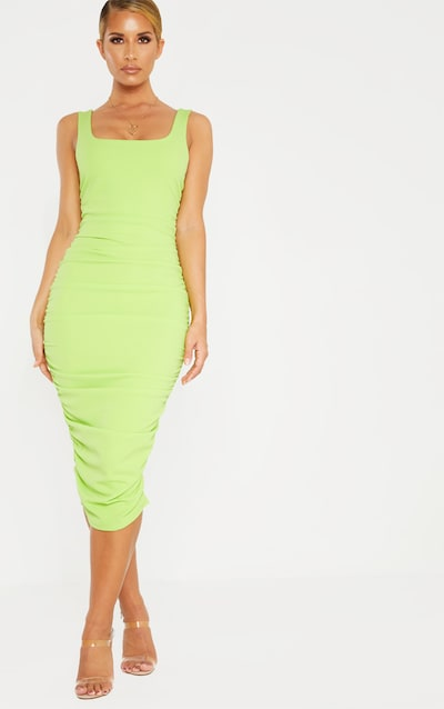 890655fe06 Neon Lime Square Neck Open Back Ruched Midi Dress
