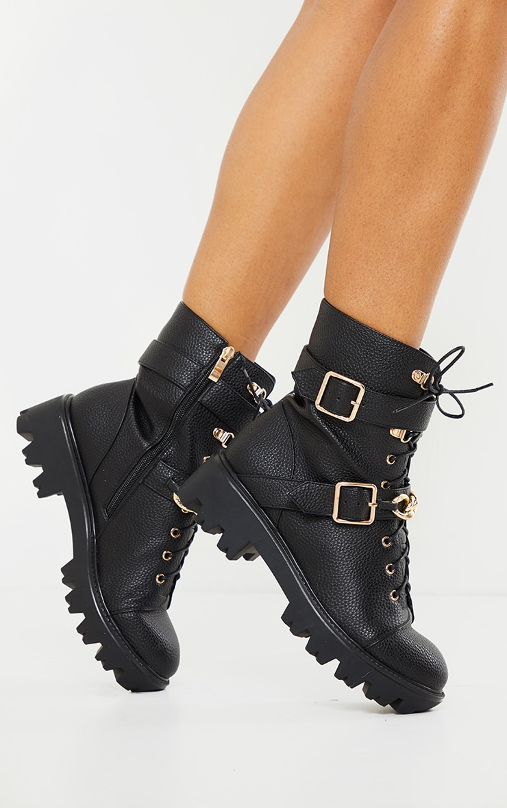 Black Buckle Chain Trim Lace Up Hiker Boot 1