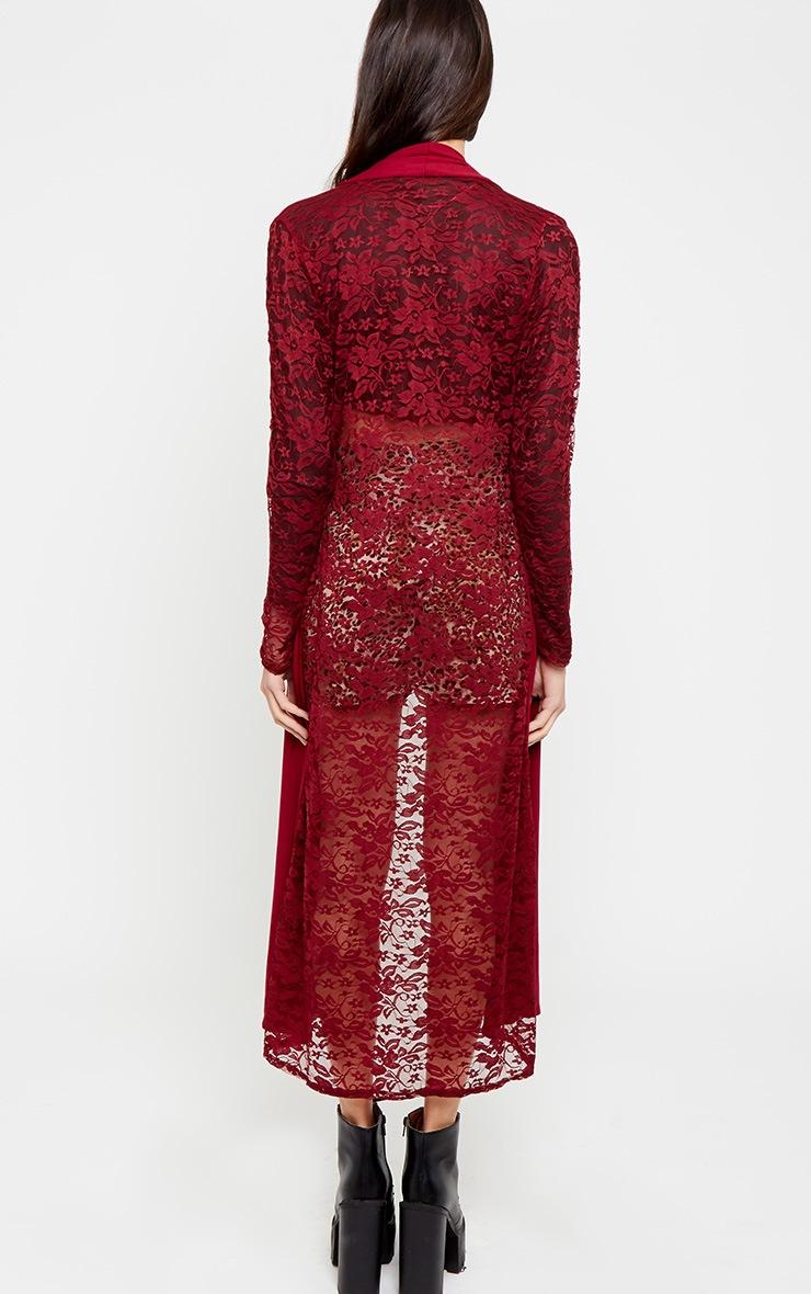 Roxie Wine Long Length Kimono  2