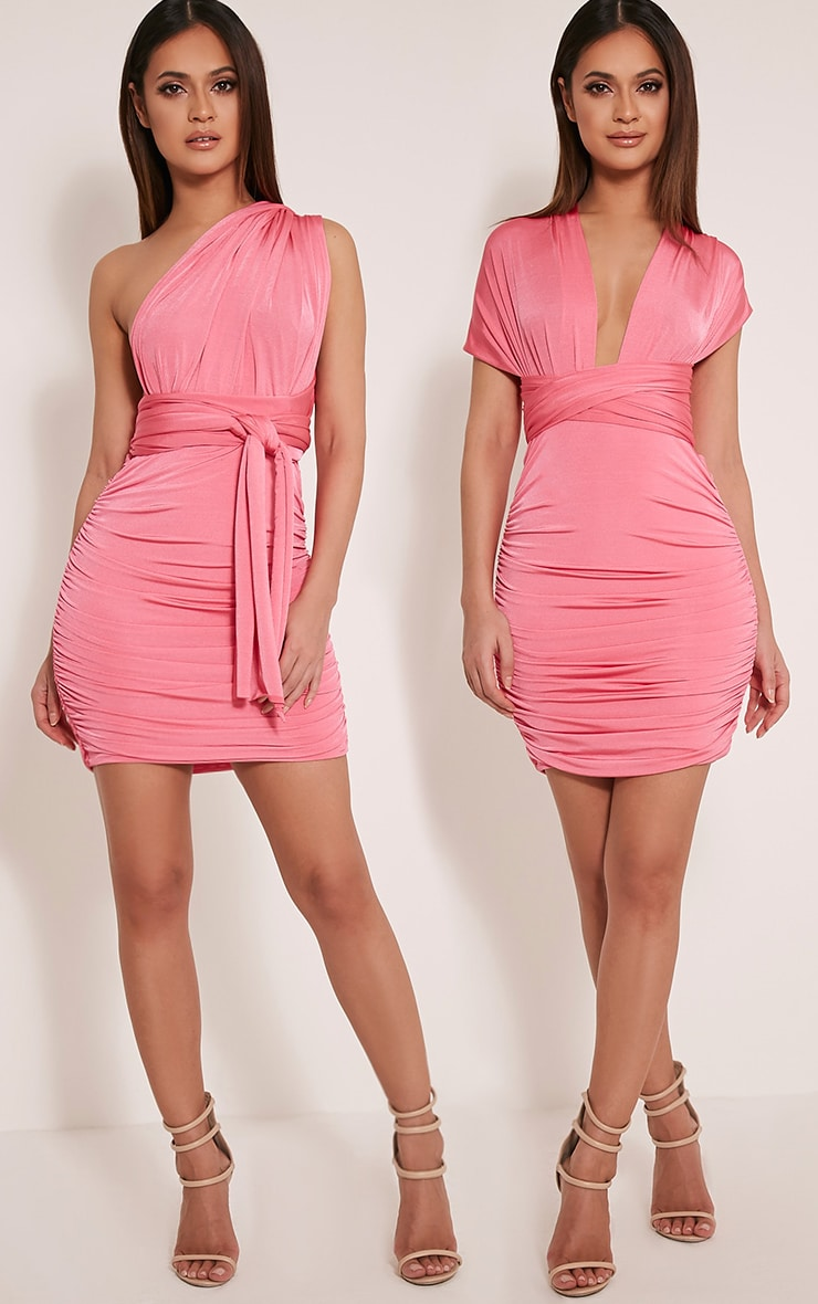 Katherine Hot Pink Multiway Mini Dress 1