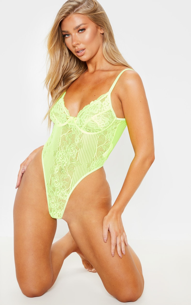 Neon Lime Lace Insert High Leg Cupped Body 5