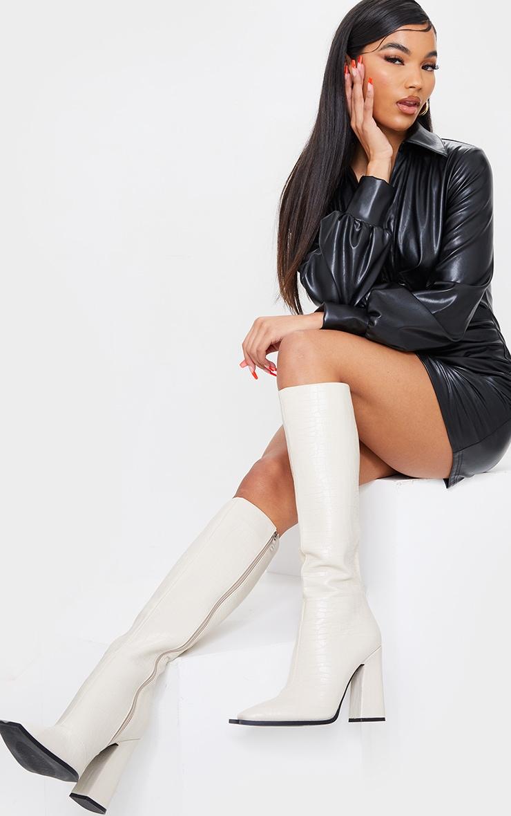Cream Croc High Block Heel Knee Boots 1