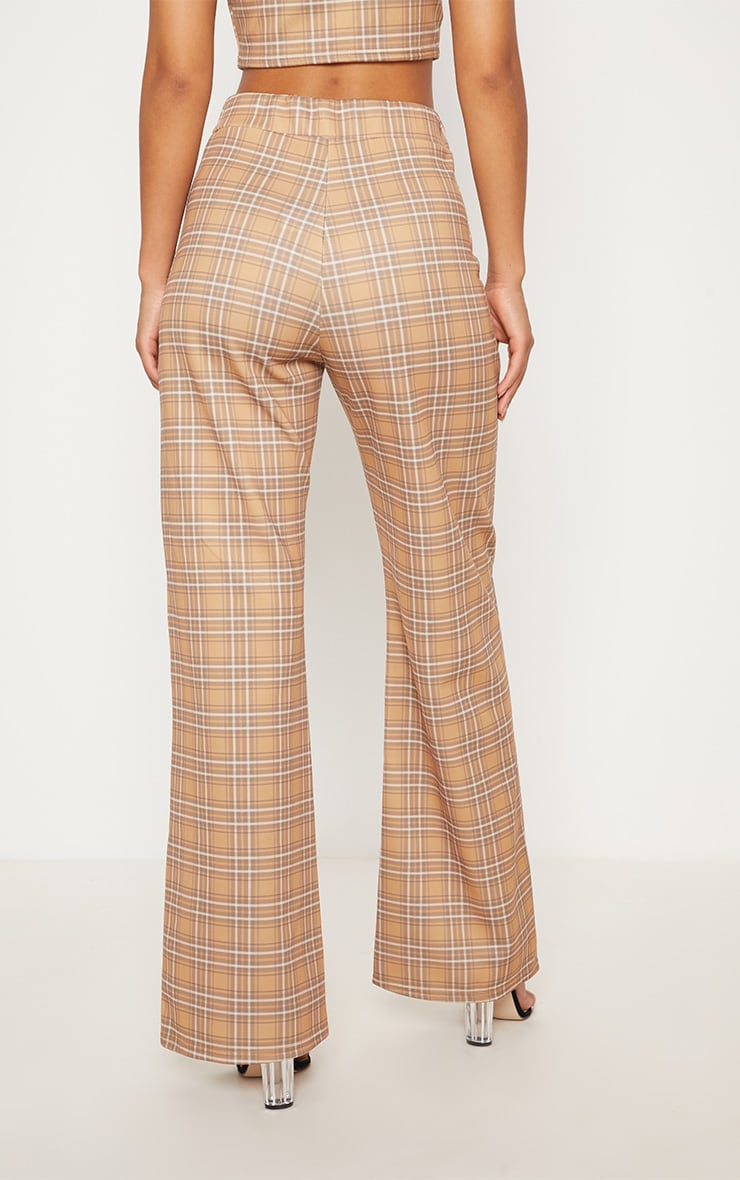 Camel Check High Waisted Wide Leg Trousers 5