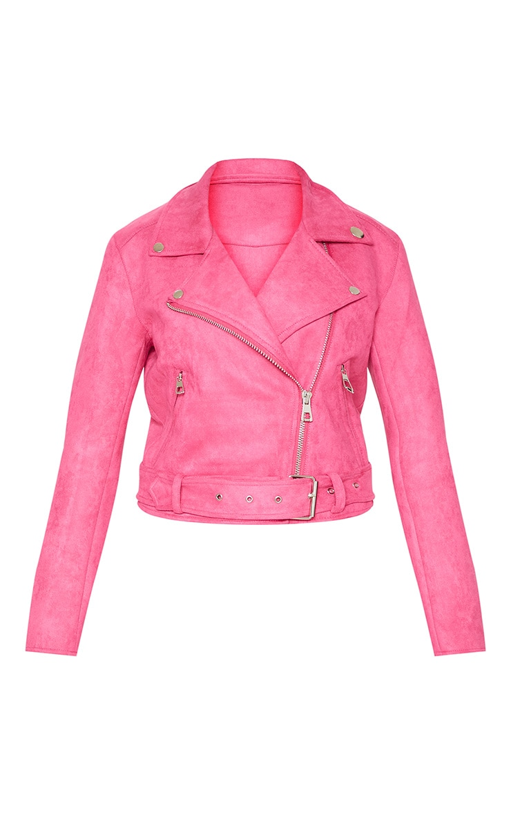 Pink Faux Suede Biker Jacket 3