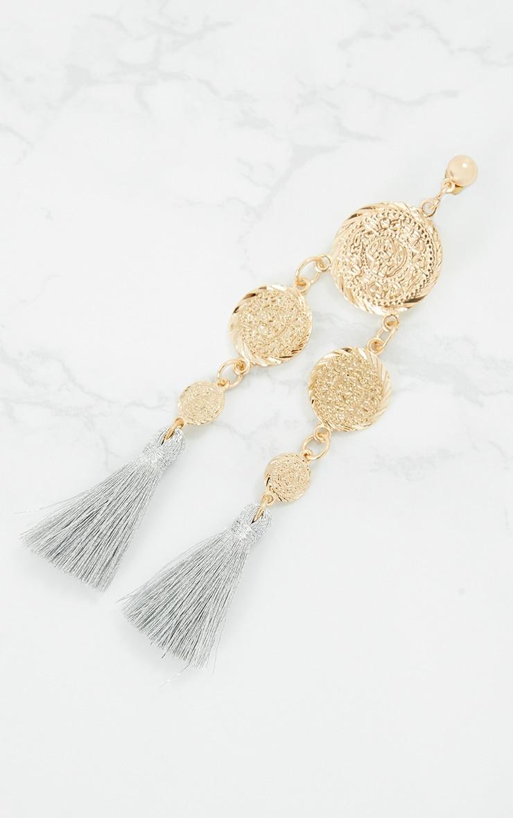 Silver Coin Drop Tassel Earrings 4