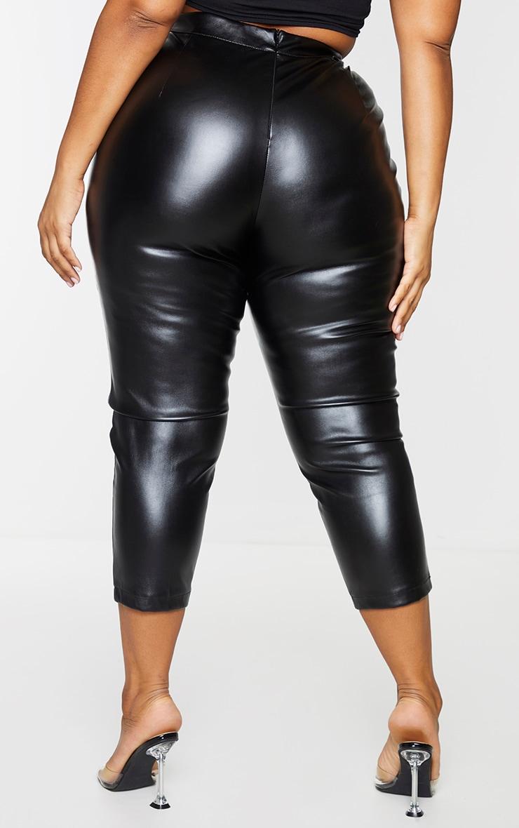 Plus Daysha Black Cropped Faux Leather Pants 3