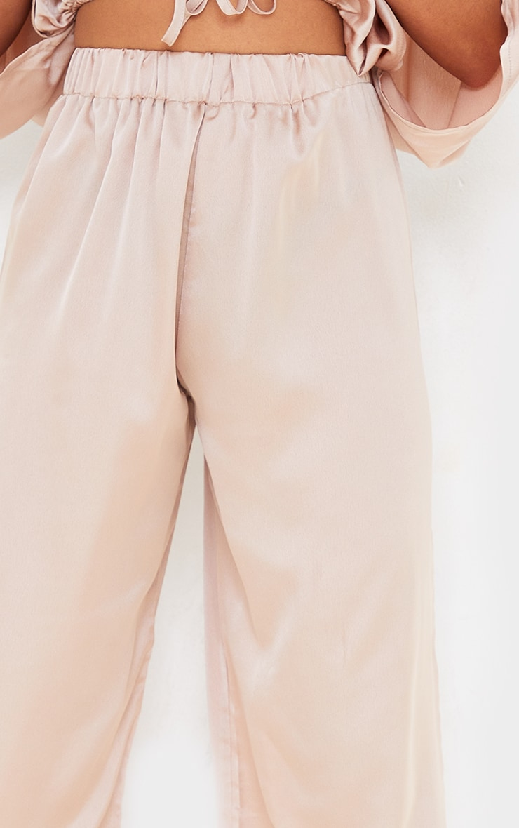 Petite Champagne Satin High Wasited Ruched Wide Leg Pants 4