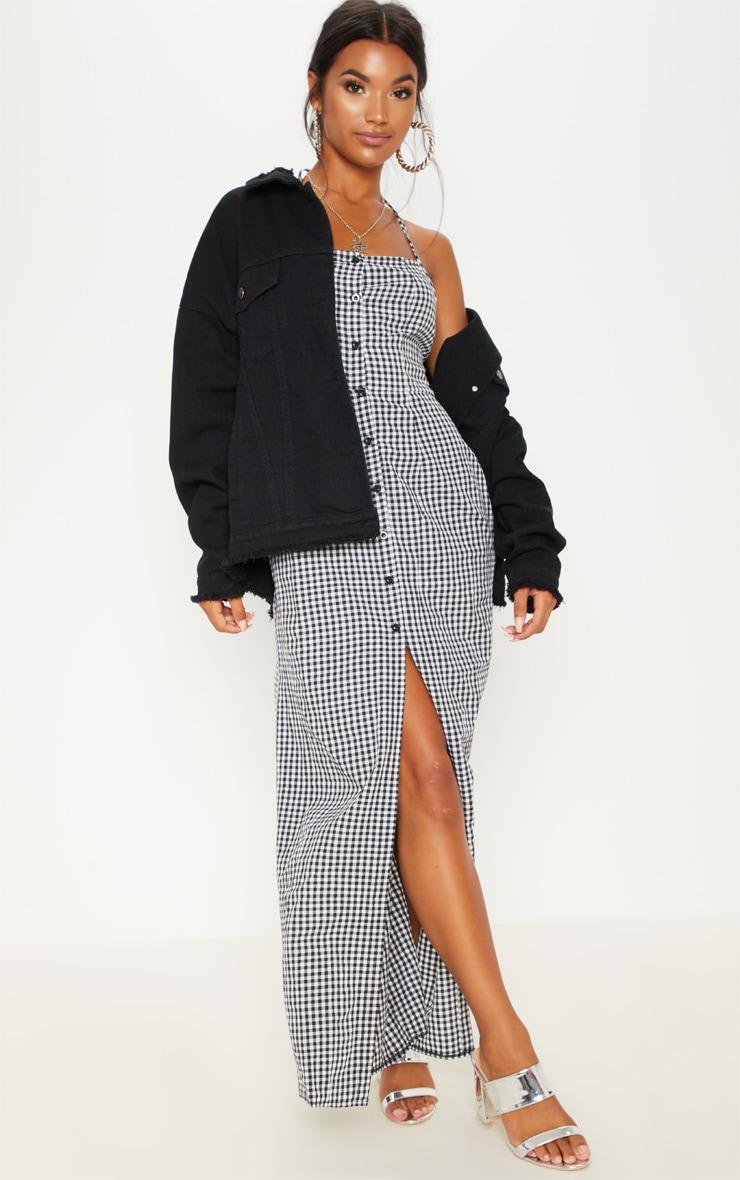 Black Gingham Halterneck Button Front Maxi Dress 4