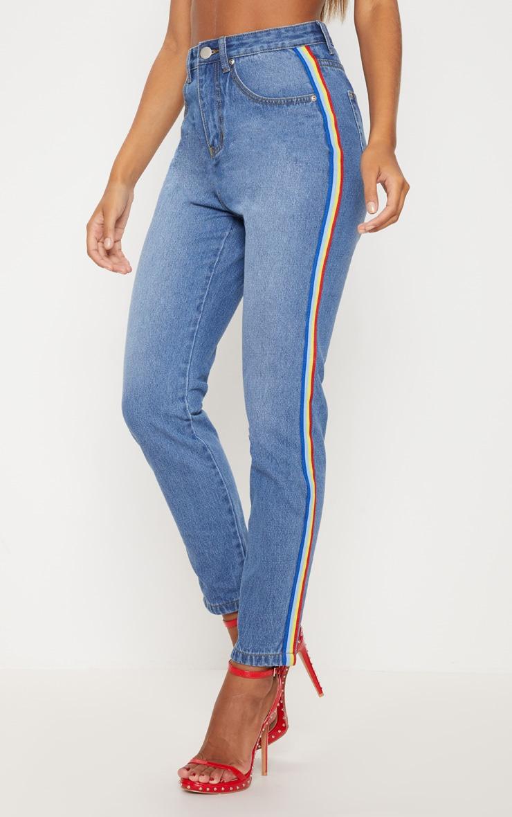 Mid Wash Rainbow Side Stripe Mom Jean 2