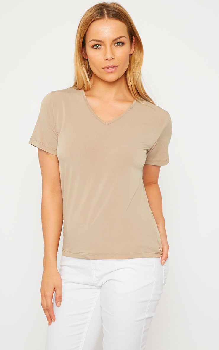 Basic Camel Slinky V-Neck T-Shirt 2