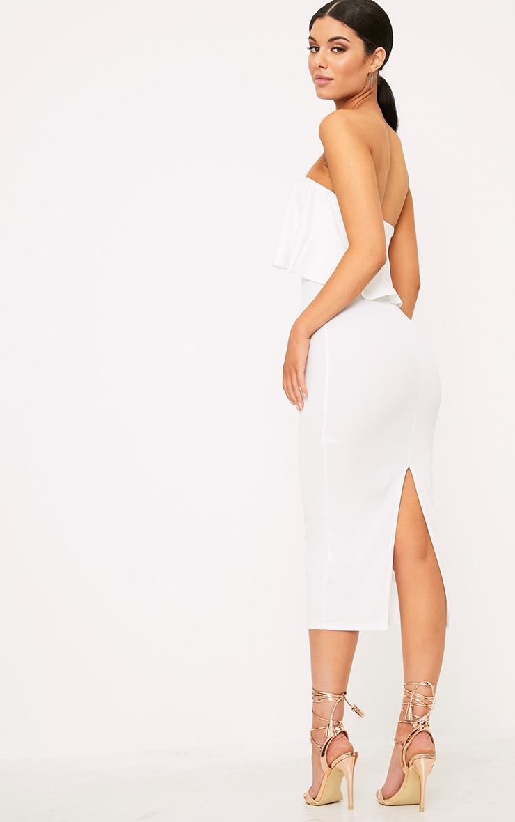 White Frill Bandeau Midi Dress 2