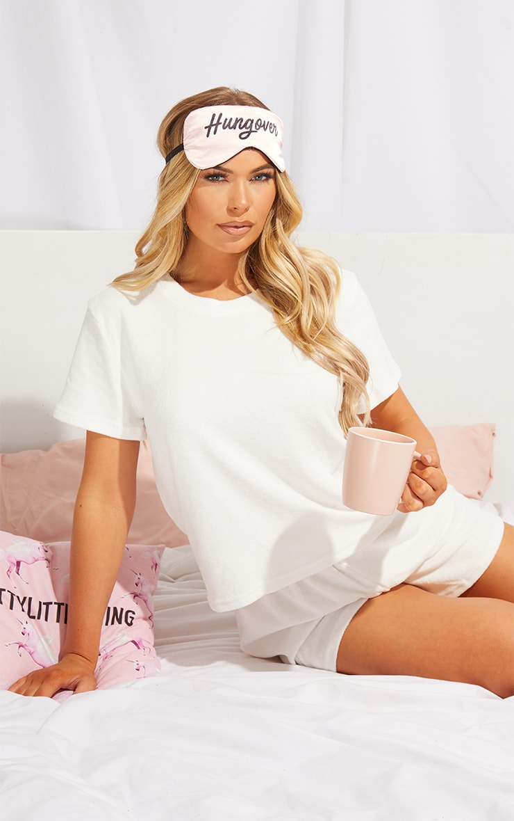 White Towelled Top And Shorts Pj Set 4