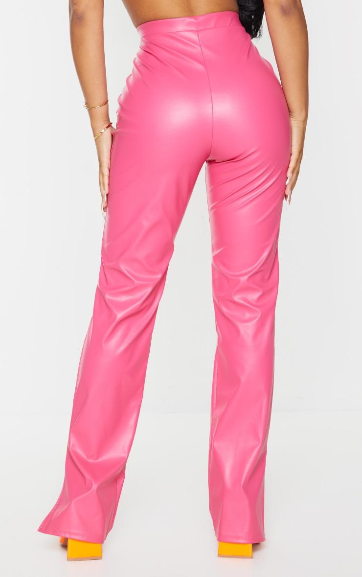 Petite Pink Faux Leather Split Hem Trousers 3