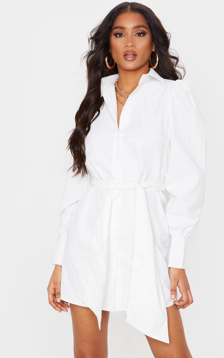 White Puff Shoulder Long Sleeve Belt Detail Shirt Dress 1