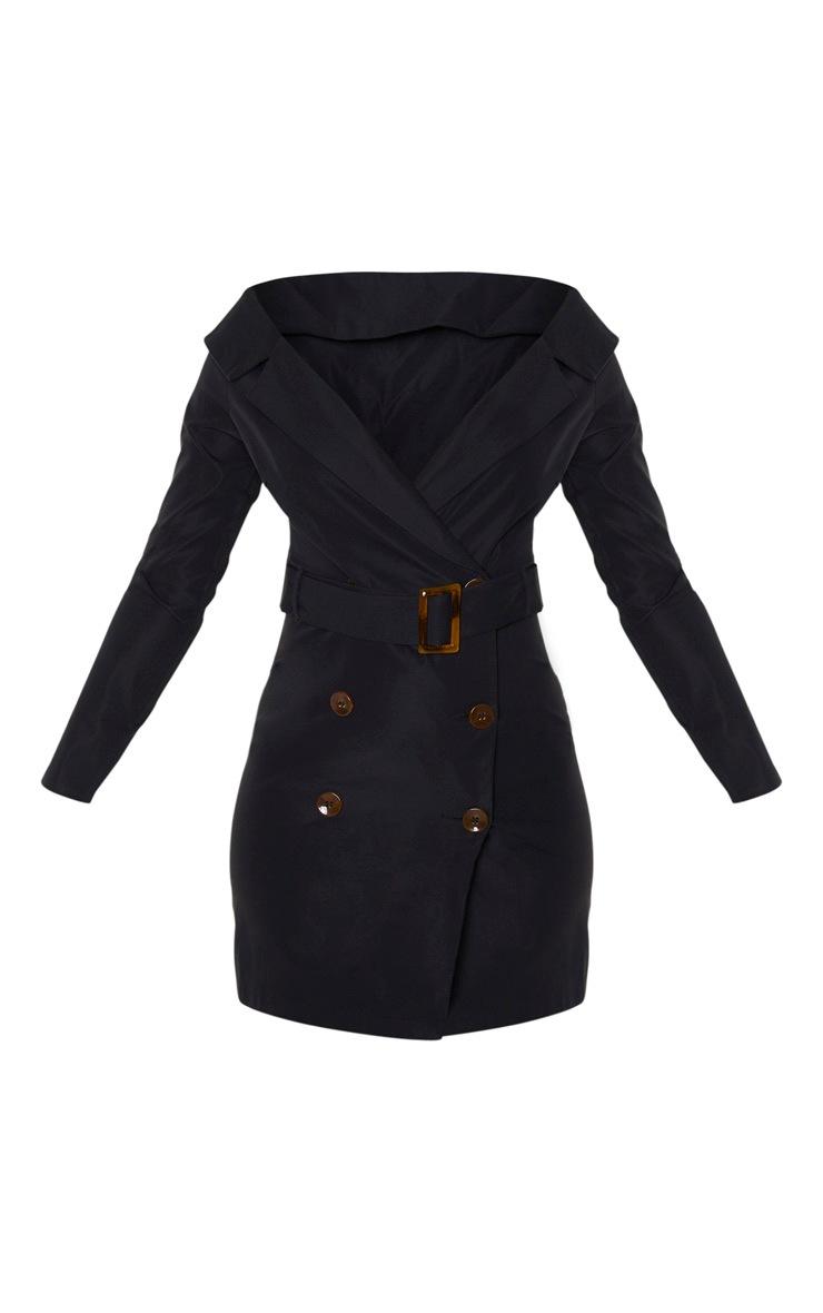 Black Bardot Tortoise Button Belted Blazer Dress 3
