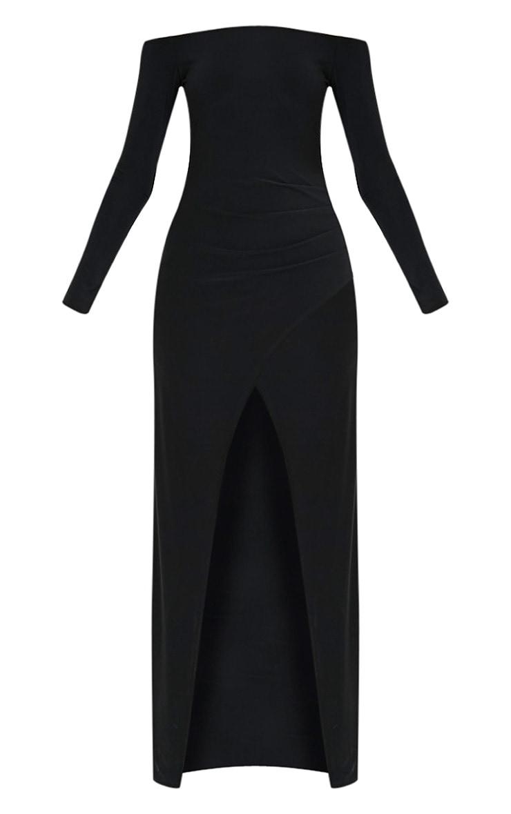 Sharlotte robe maxi bardot cache-cœur près du corps noire 3