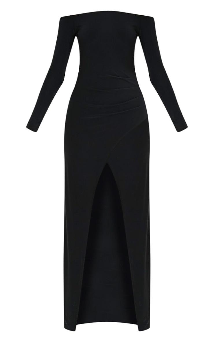 Sharlotte Black Slinky Wrap Bardot Maxi Dress 3