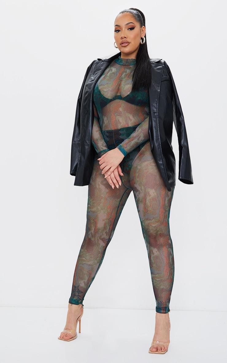 Plus Green Marble Print Mesh Jumpsuit 1