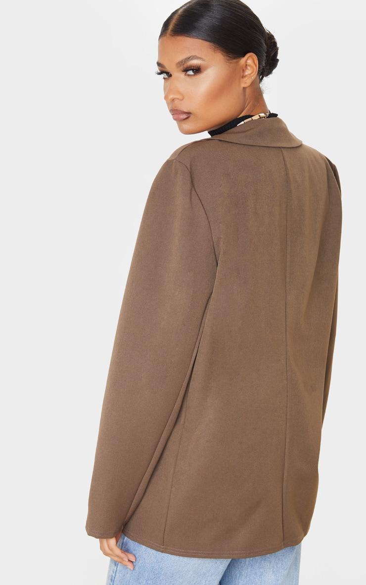 Taupe Oversized Shoulder Padded Blazer 2