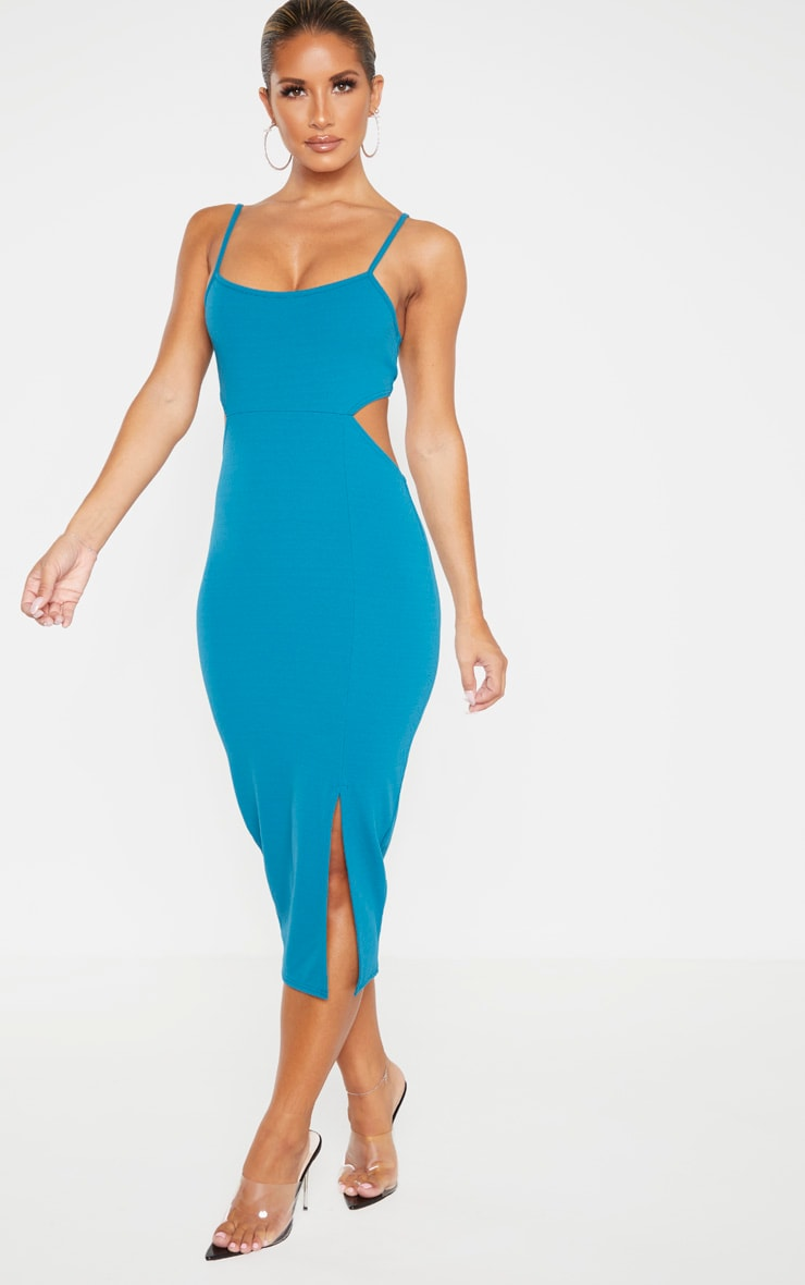 Teal Strappy Cut Out Back Midi Dress 2
