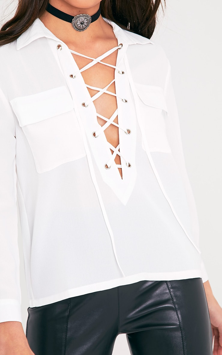 Yazmin Cream Lace Up Pocket Shirt 6