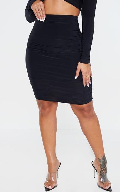 Shape Black Slinky Ruched Detail Bodycon Skirt