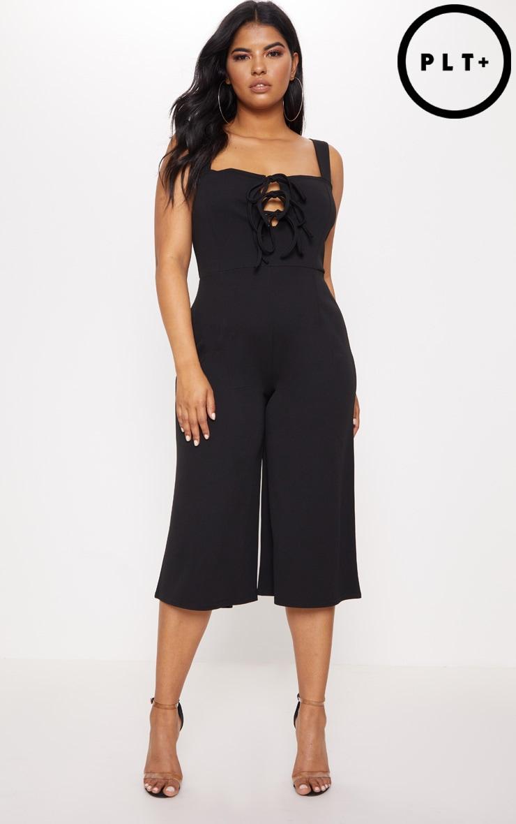 Plus Black Lace Up Detail Wide Leg Culotte Jumpsuit 1