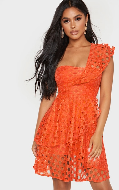 One dress shoulder bodycon yellow lace bright