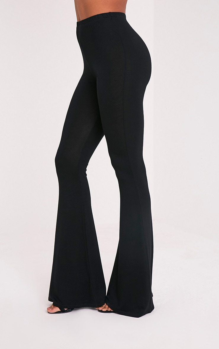 Basic Black Jersey Flared Trousers 4