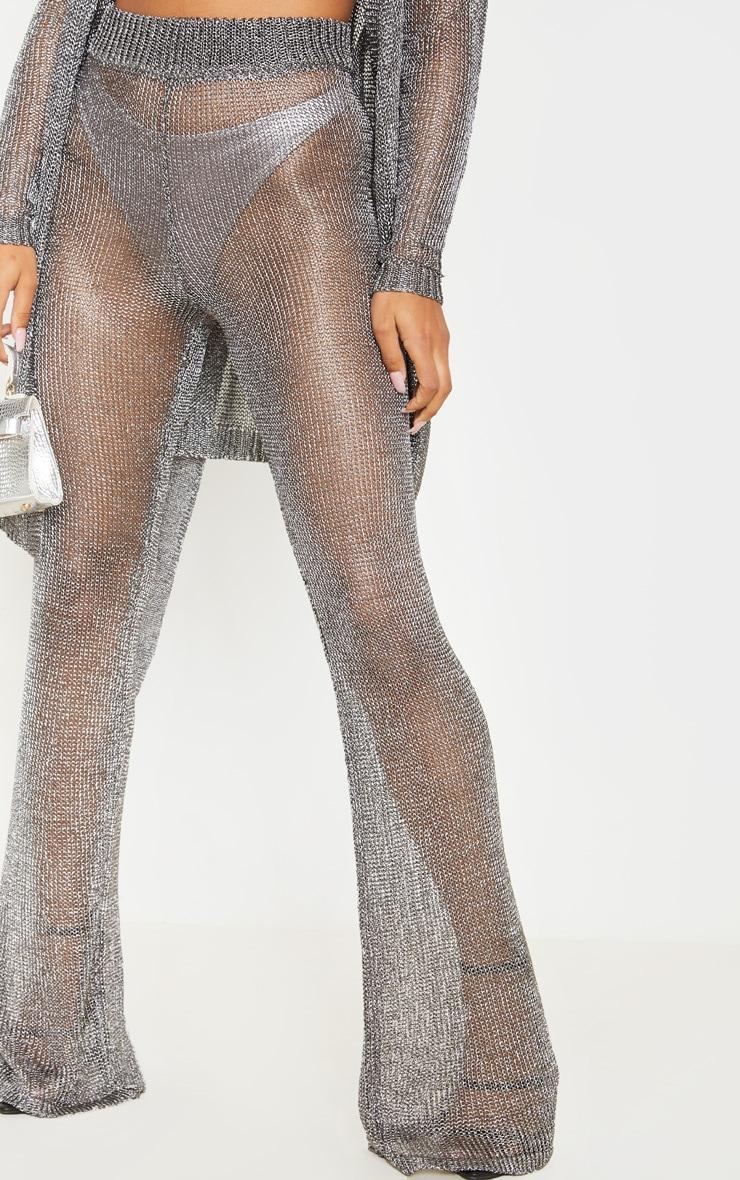 Pewter Metallic Wide Leg Flares 6