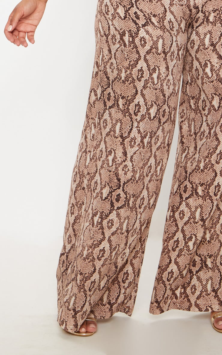 Plus Taupe Snake Print Wide Leg Pants 5