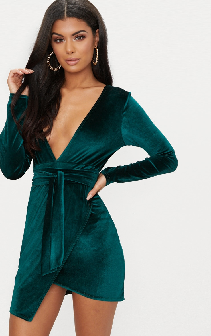 522d6680c1 Emerald Green Plunge Wrap Detail Long Sleeve Mini Dress image 1
