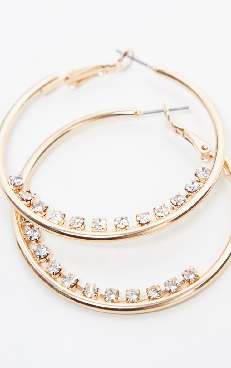 Gold Hoop Diamante Line Hoop Earring 1