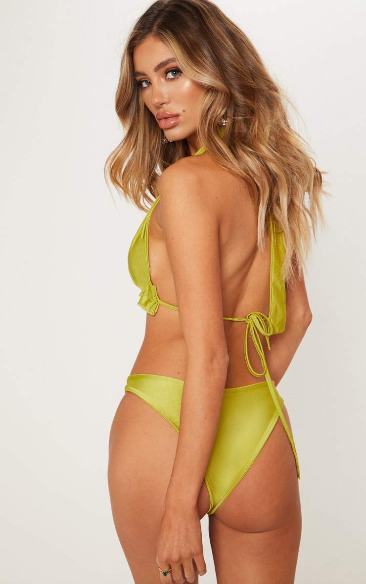 Olive Knotted Ruched Triangle Bikini Top 2