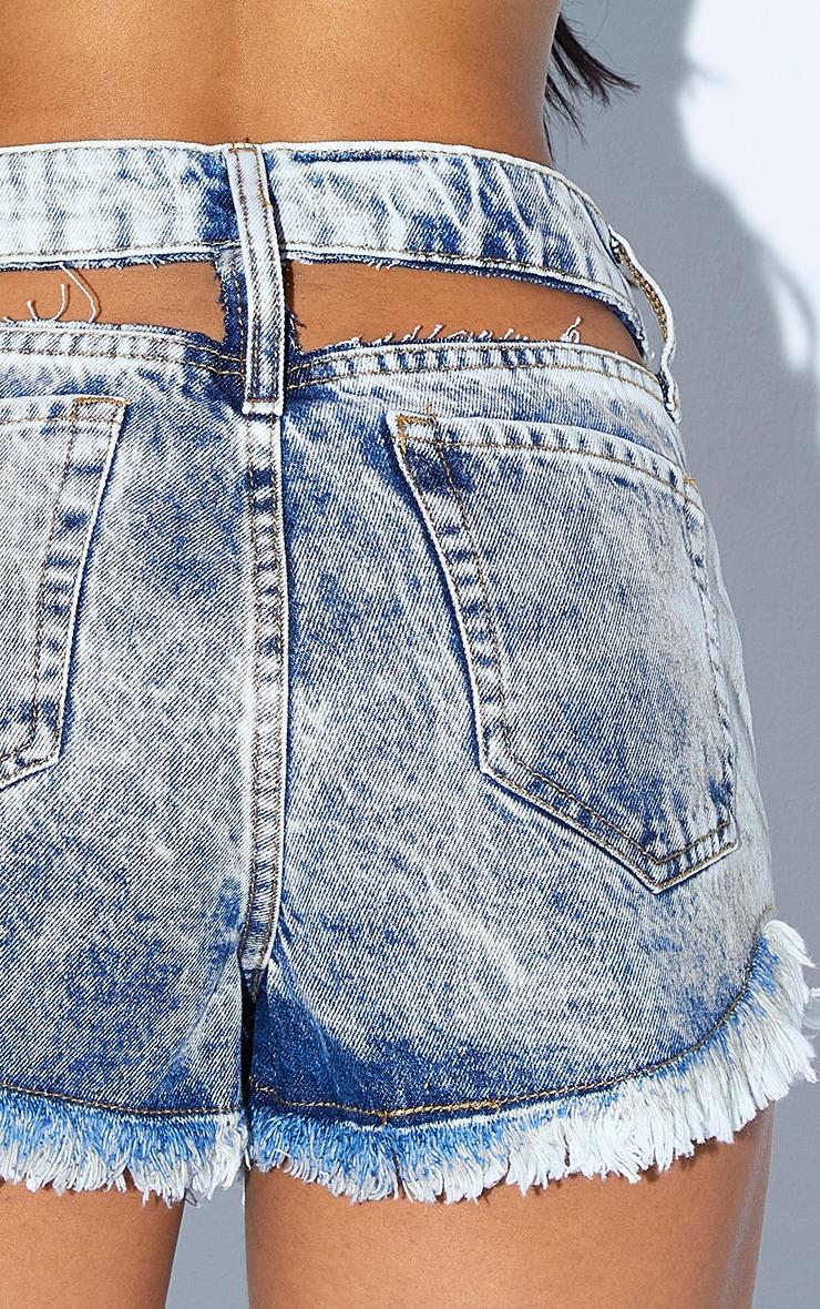 Bleach Wash Frayed Hem Cut Out Waist Denim Shorts 5