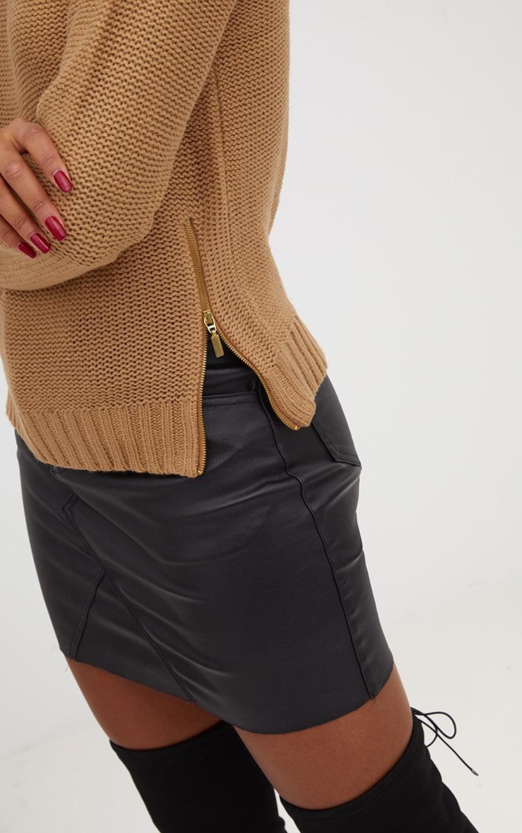 Tan Reverse Knit Zip Detail Jumper 5